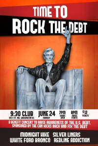 "The ""Rock the Debt"" show will be at the 9:30 Club this coming Monday!"