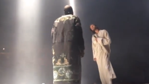 Kanye onstage during his Yeezus tour.  Photo courtesy of newsone.com