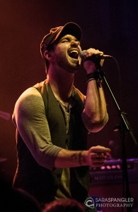 Lead singer Bradley Rhodes of MELODIME at the 9:30 Club in May 2013, supporting Honor By August.